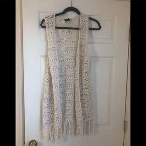 Forever 21 White Crochet Vest